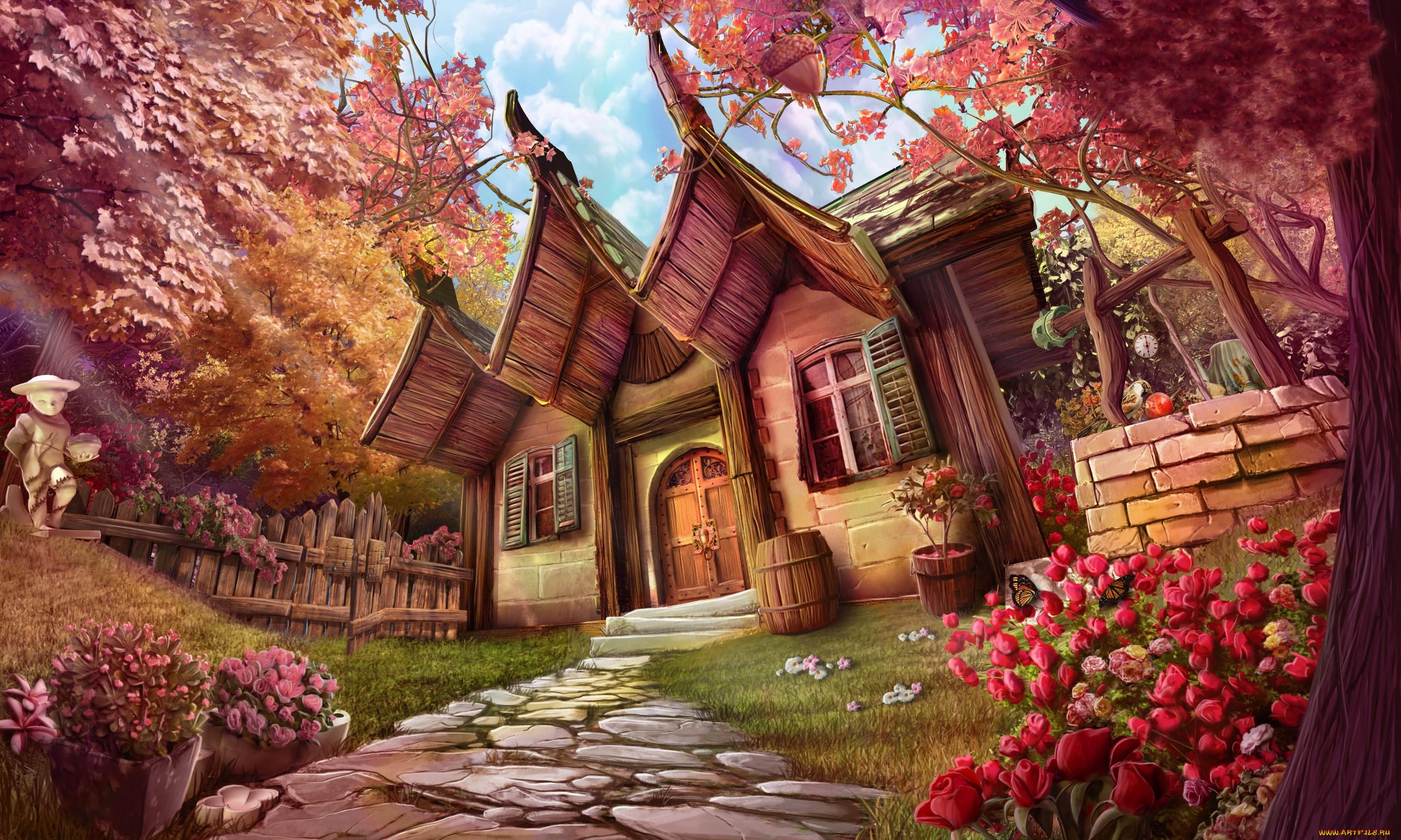 рисованное, города, цветы, лето, домик